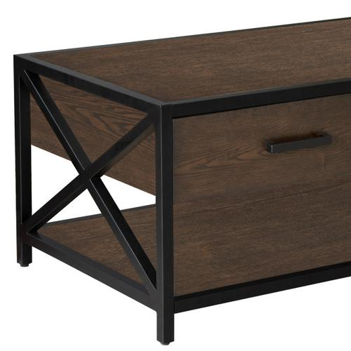 Accentrics Home - Dark Brown Metal Framed Two Drawer Cocktail Table