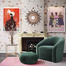 View Product - Boboli Forest Green Velvet Chair + Ottoman Set
