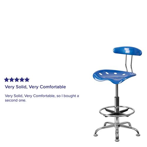 Flash Furniture - Vibrant Bright Blue and Chrome Drafting Stool with Tractor Seat