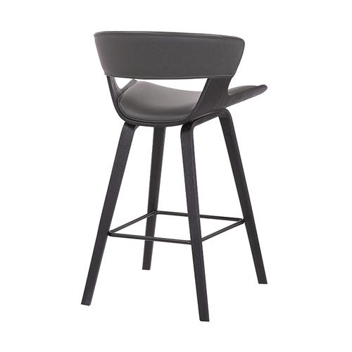 """Jagger 26"""" Counter Height Stool with Black Brushed Finish and Gray Faux Leather"""