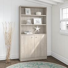Universal Bookcases 5 Shelf Bookcase with Doors - Washed Gray