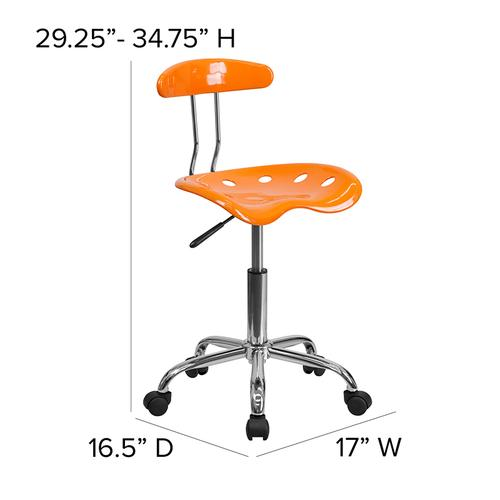 Flash Furniture - Vibrant Orange and Chrome Swivel Task Office Chair with Tractor Seat