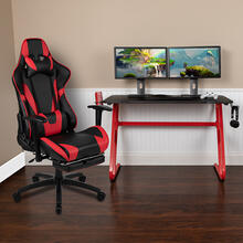 Red Gaming Desk and Red\/Black Footrest Reclining Gaming Chair Set with Cup Holder and Headphone Hook