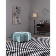Divani Casa Colette Modern Blue Velvet Star Ottoman