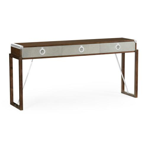 Campaign Style Dark Santos Rosewood & Grey Leather Console Table with Drawers