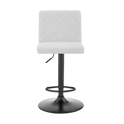 Duval Adjustable White Faux Leather Swivel Bar Stool