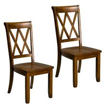 Vintage Distressed 2-Pack Brown Side Chairs