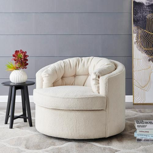 Product Image - Priscille Faux Shearling Fabric Swivel Accent Arm Chair, Shearling Beige