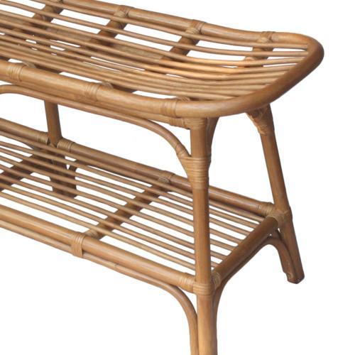 Damara Rattan Bench w/ Shelf, Canary Brown