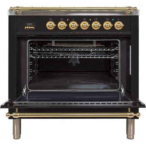 Ilve - Nostalgie 36 Inch Gas Natural Gas Freestanding Range in Glossy Black with Brass Trim