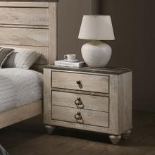 See Details - Imerland Contemporary White Wash Finish Patched Wood Top 3-drawer Nightstand