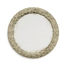 """Carved and silver gilded 24"""" round hanging wall mirror"""