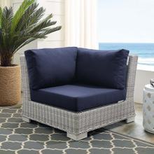 Conway Sunbrella® Outdoor Patio Wicker Rattan Corner Chair in Light Gray Navy