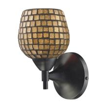 See Details - Celina 1-Light Wall Lamp in Dark Rust with Gold Mosaic Glass