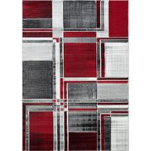 DA-415 RED Abstract Rectangle Rug