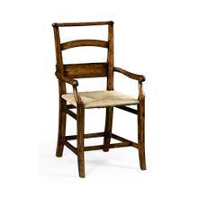 Rustic Walnut Church Arm Chair