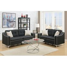Alheri 2pc Loveseat & Sofa Set, Black