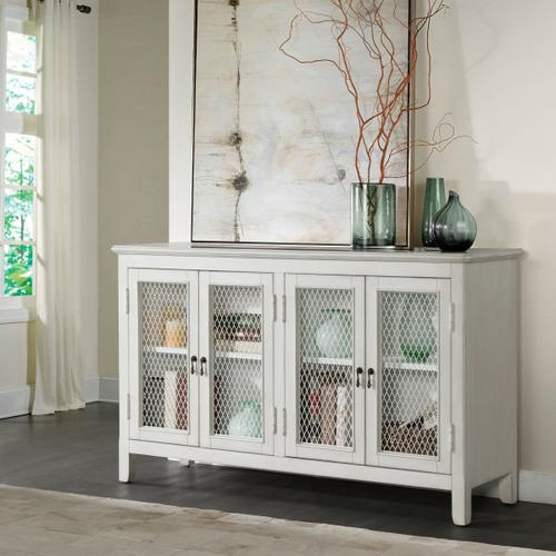 Four Door Mesh Front Console in Farmhouse White