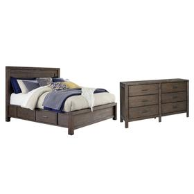 King Panel Bed With 4 Storage Drawers With Dresser