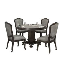 CR-87711  5 Piece Vegas Dining and Poker Table Set  Reversible Flip Top  Gray Wood  Caster Chairs with Nailheads