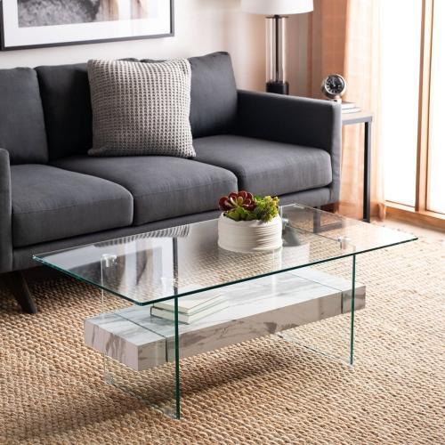 Safavieh - Kayley Glass Coffee Table - Glass / White