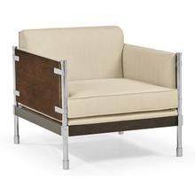 See Details - Campaign Style Dark Santos Rosewood Sofa Chair, Upholstered in MAZO