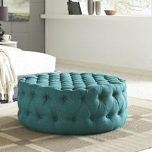 See Details - Amour Upholstered Fabric Ottoman in Teal
