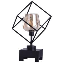 Axis Bronze  20in Instustrial Square Glass Uplight with Wood Base and Edison Bulb  40W  Inline Sw