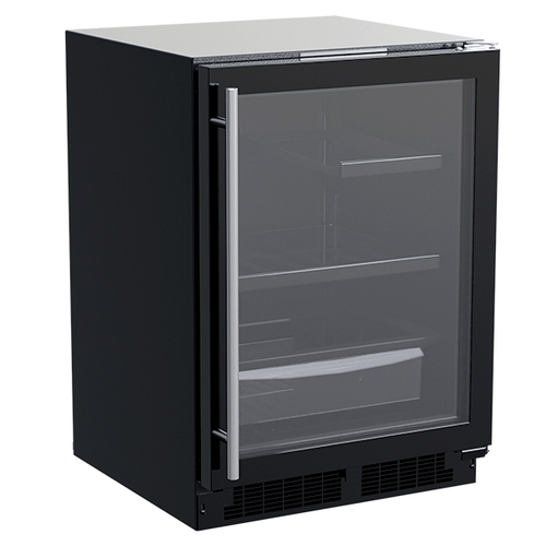 Marvel - 24-In Built-In Refrigerator With 3-In-1 Convertible Shelf And Maxstore Bin with Door Style - Black Frame Glass