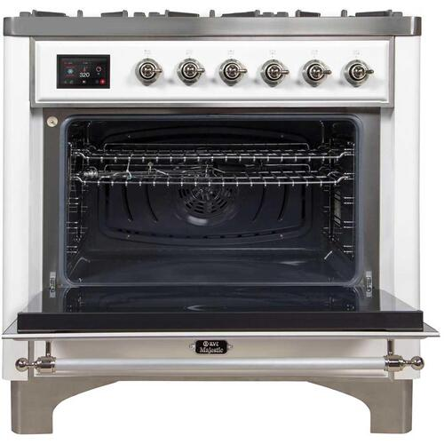Majestic II 36 Inch Dual Fuel Natural Gas Freestanding Range in White with Chrome Trim
