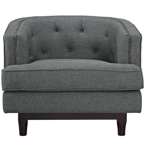 Modway - Coast Upholstered Fabric Armchair in Gray