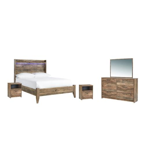 Full Panel Headboard With Mirrored Dresser and 2 Nightstands