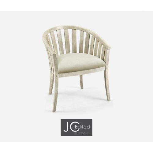 White Wash Driftwood Tub Armchair, Upholstered in Castaway