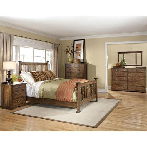 King Panel Bed, (1) 6 Drawer Storage, (1) Univ Rail