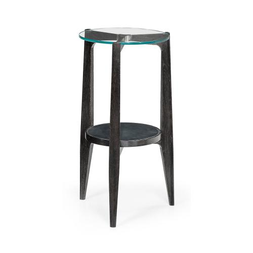 Architectural Round Black Leather & Black Mocha Oak End Table with Glass Top