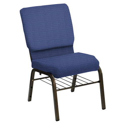 Flash Furniture - HERCULES Series 18.5''W Church Chair in Bedford Blue Sky Fabric with Book Rack - Gold Vein Frame