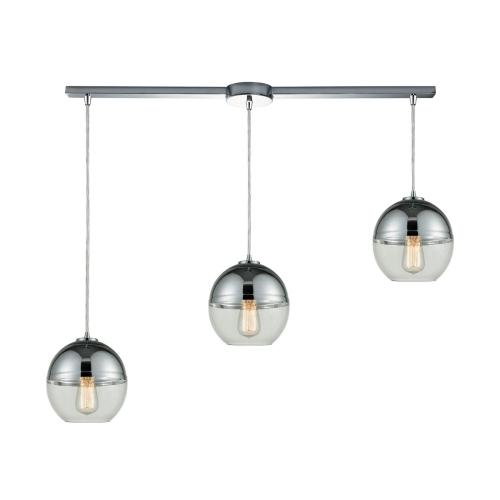 Revelo 3-Light Linear Mini Pendant Fixture in Polished Chrome with Clear and Chrome-plated Glass