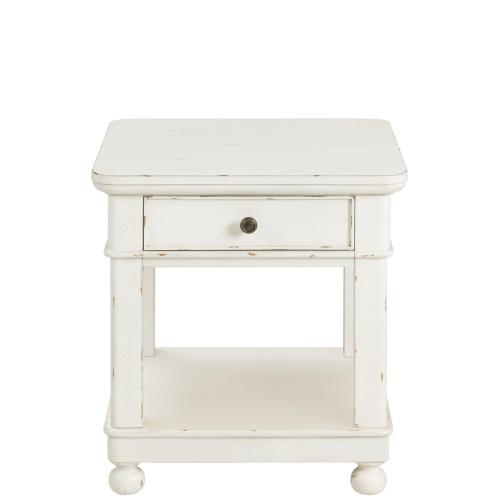 Bella Grigio - Square Side Table - Chipped White Finish