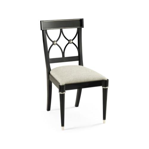 Madison Piano Black & White Brass Dining Side Chair, Upholstered in Shambala