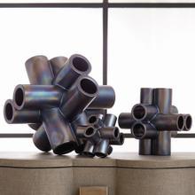 Cube Tube Sculpture-Black Luster-Med