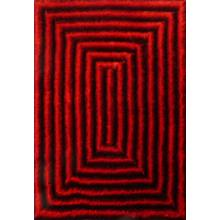 Soft Three Dimensional Polyester Viscose Hand Tufted 3D 305 Shag Area Rug by Rug Factory Plus - 2' x 3' / Red