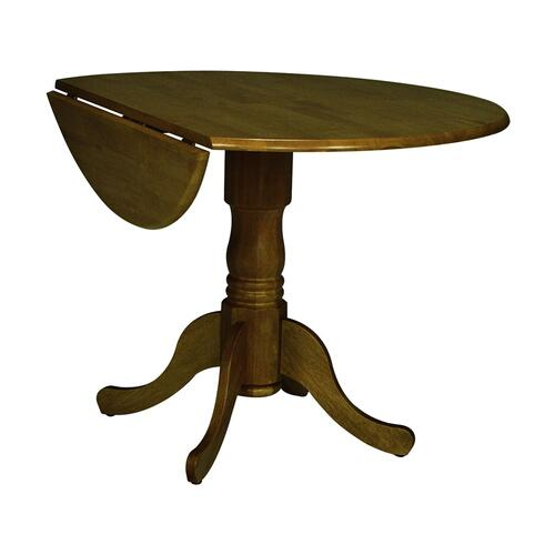 Round Dropleaf Pedestal Table in Oak