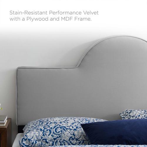 Dawn Twin Performance Velvet Headboard in Light Gray