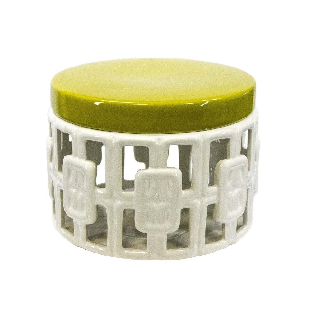 White Ceramic Jar W/ Yellow Lid 7""
