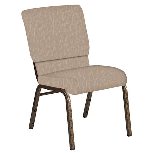 Flash Furniture - 18.5''W Church Chair in Amaze Fossil Fabric - Gold Vein Frame