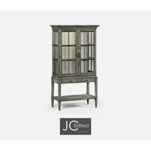 Antique Dark Grey Glazed Display Cabinet with Strap Handles