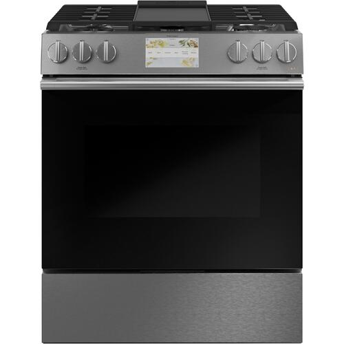 "Café 30"" Smart Slide-In, Front-Control, Dual-Fuel Range in Platinum Glass"