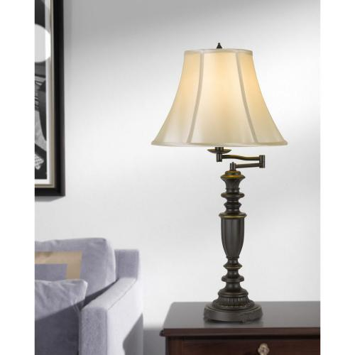 150W 3 Way Mayo Aluminum Casted Swing Arm Table Lamp With Softback Faux Silk Shade