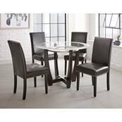 Verano 5 Piece Set(Glass Top Table & 4 Black Side Chairs)