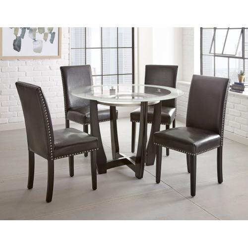Gallery - Verano 5 Piece Set(Glass Top Table & 4 Black Side Chairs)